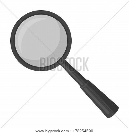 Magnifying glass icon in monochrome design isolated on white background. Precious minerals and jeweler symbol stock vector illustration.