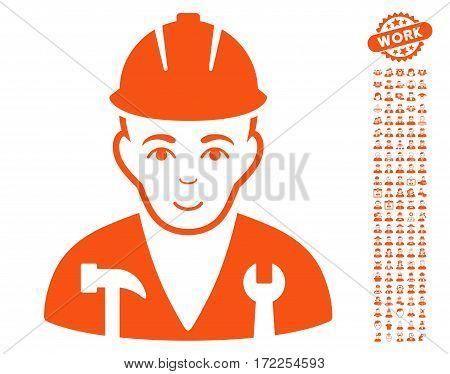 Serviceman pictograph with bonus men clip art. Vector illustration style is flat iconic orange symbols on white background.