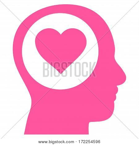 Love Thinking Head flat icon. Vector pink symbol. Pictograph is isolated on a white background. Trendy flat style illustration for web site design logo ads apps user interface.