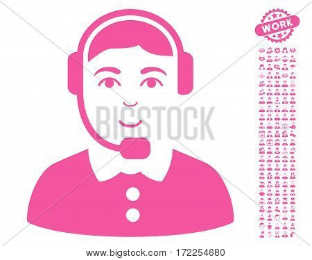 Call Center Operator icon with bonus people images. Vector illustration style is flat iconic pink symbols on white background.