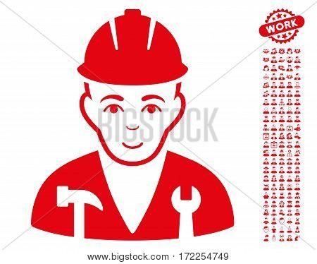 Serviceman icon with bonus avatar symbols. Vector illustration style is flat iconic red symbols on white background.
