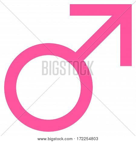 Mars Male Symbol flat icon. Vector pink symbol. Pictogram is isolated on a white background. Trendy flat style illustration for web site design logo ads apps user interface.