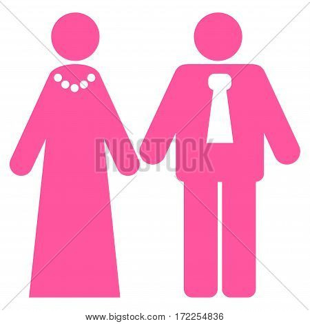Newlyweds flat icon. Vector pink symbol. Pictograph is isolated on a white background. Trendy flat style illustration for web site design logo ads apps user interface.