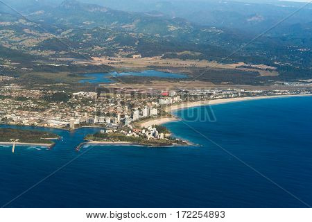 Aerial View Of Coolangatta Town And Geenmount Beach