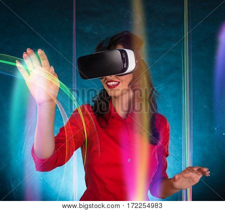 Happy woman with glasses of virtual reality. VR concept.