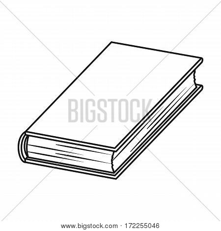 Black book icon in outline design isolated on white background. Books symbol stock vector illustration.