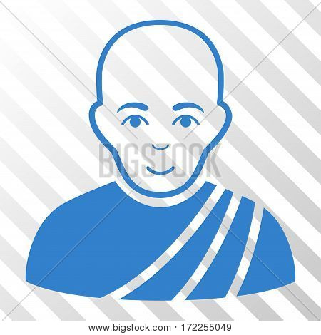 Cobalt Buddhist Monk toolbar icon. Vector pictogram style is a flat symbol on diagonally hatched transparent background.