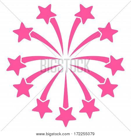 Spherical Fireworks flat icon. Vector pink symbol. Pictogram is isolated on a white background. Trendy flat style illustration for web site design logo ads apps user interface.