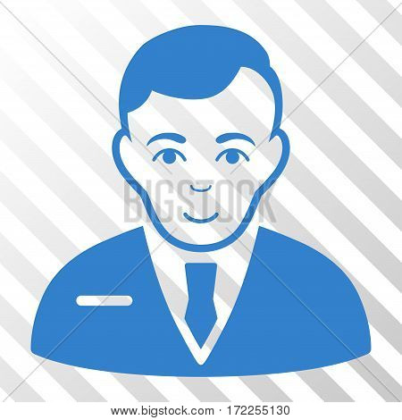 Cobalt Businessman interface toolbar icon. Vector pictogram style is a flat symbol on diagonally hatched transparent background.