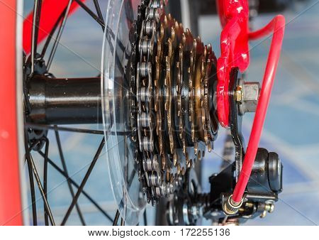 bike gear and wheel with chain. close up