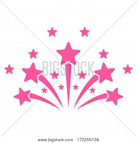 Star Fireworks flat icon. Vector pink symbol. Pictogram is isolated on a white background. Trendy flat style illustration for web site design logo ads apps user interface.