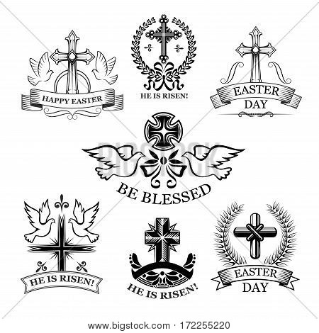 Easter Day holiday badge set. Easter dove birds, religious cross and crucifix, framed by olive branches, laurel wreath, ribbon banner and bow. Retro black and white emblems for Easter themes design
