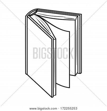 Black standing book icon in outline design isolated on white background. Books symbol stock vector illustration.