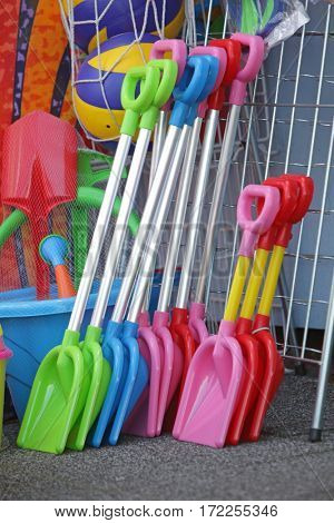 beach plastic tools for kids in outdoor shop - close up