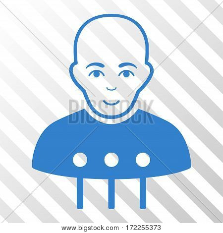 Cobalt Cyborg Interface interface toolbar icon. Vector pictogram style is a flat symbol on diagonally hatched transparent background.