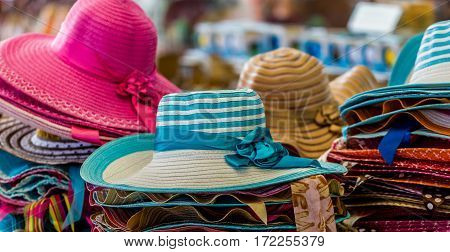 Sombrero select focus on the white hat.