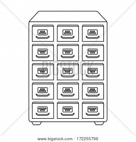 Library catalog icon in outline design isolated on white background. Library and bookstore symbol stock vector illustration.