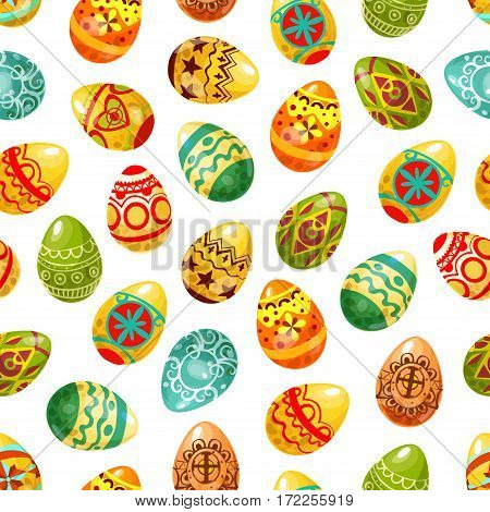 Easter egg seamless pattern background. Decorated Easter eggs with floral and geometric ornaments, cross, heart, flower and star pattern. Easter holiday decoration and egg hunt themes design