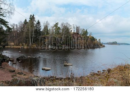 Church On Top Of A Cliff, Lake With Rocky Shores