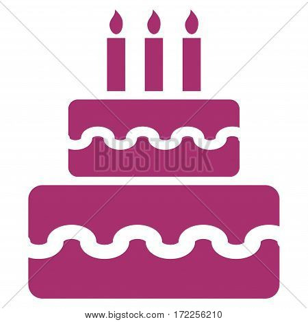 Birthday Cake flat icon. Vector purple symbol. Pictogram is isolated on a white background. Trendy flat style illustration for web site design logo ads apps user interface.