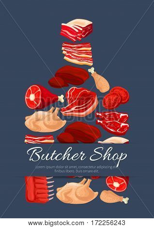 Meat poster of cutting board and vector meat products pork tenderloin bacon and mutton ribs or sirloin, beef fillet brisket or t-bone steak, turkey and chicken leg, liver and cutlets