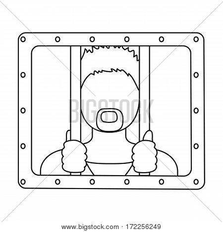 Prisoner icon in outline design isolated on white background. Police symbol stock vector illustration.