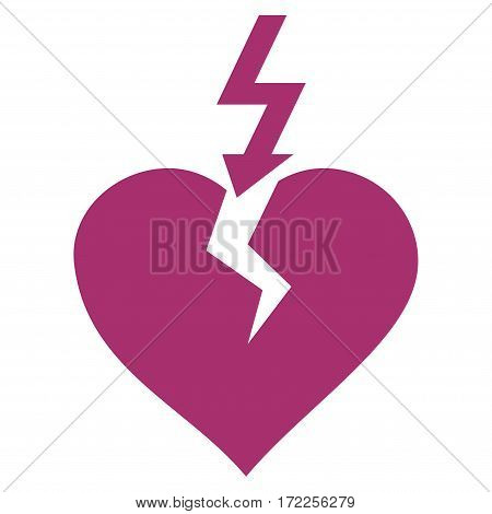 Break Heart flat icon. Vector purple symbol. Pictogram is isolated on a white background. Trendy flat style illustration for web site design logo ads apps user interface.