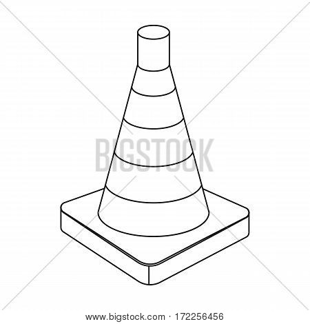 Traffic cone icon in outline design isolated on white background. Police symbol stock vector illustration.