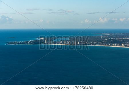 Aerial View Of Coolangatta And Geenmount Beach