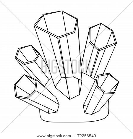 Green natural minerals icon in outline design isolated on white background. Precious minerals and jeweler symbol stock vector illustration.