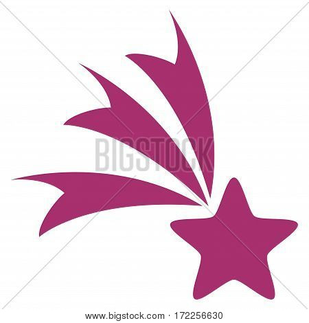 Falling Star flat icon. Vector purple symbol. Pictogram is isolated on a white background. Trendy flat style illustration for web site design logo ads apps user interface.