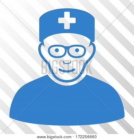 Cobalt Medical Specialist interface toolbar icon. Vector pictograph style is a flat symbol on diagonally hatched transparent background.