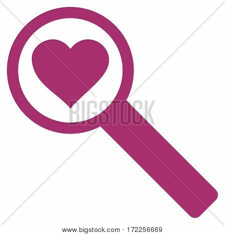 Find Love flat icon. Vector purple symbol. Pictogram is isolated on a white background. Trendy flat style illustration for web site design logo ads apps user interface.