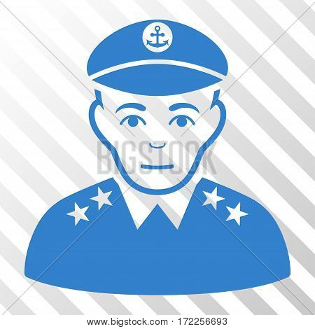 Cobalt Military Captain interface toolbar icon. Vector pictogram style is a flat symbol on diagonal hatch transparent background.