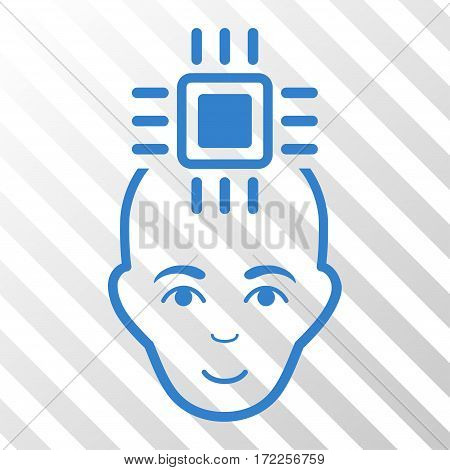 Cobalt Neural Computer Interface interface pictogram. Vector pictograph style is a flat symbol on diagonal hatch transparent background.
