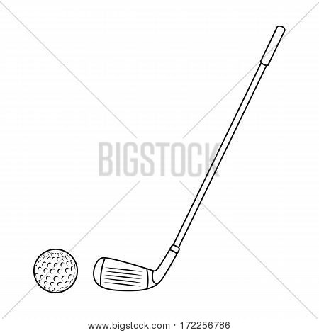 Golf icon in outline design isolated on white background. Scotland country symbol stock vector illustration.