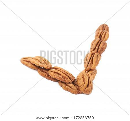 Yes tick made of pecan nuts isolated over the white background