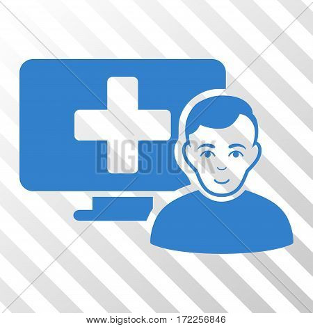 Cobalt Online Medicine toolbar icon. Vector pictogram style is a flat symbol on diagonally hatched transparent background.