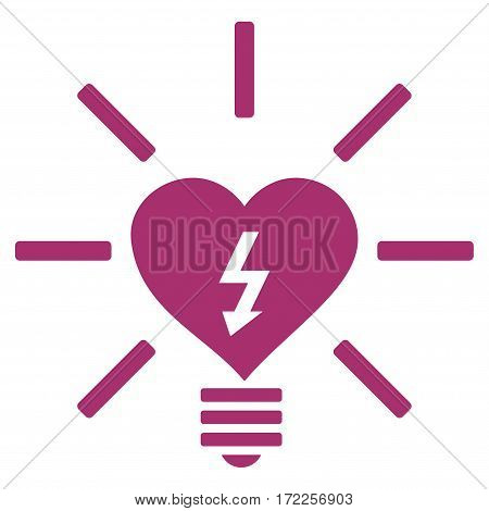 Heart Electric Bulb flat icon. Vector purple symbol. Pictogram is isolated on a white background. Trendy flat style illustration for web site design logo ads apps user interface.