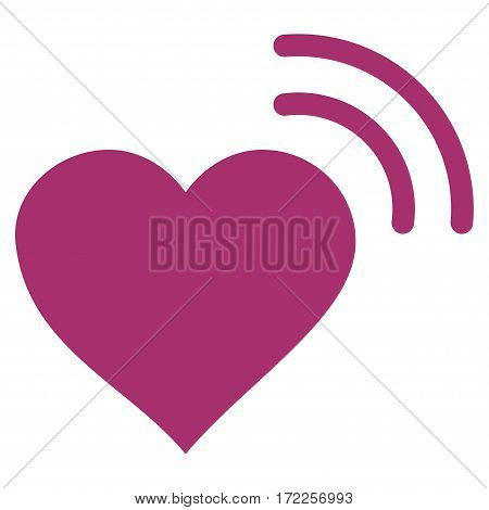 Heart Radio Signal flat icon. Vector purple symbol. Pictogram is isolated on a white background. Trendy flat style illustration for web site design logo ads apps user interface.