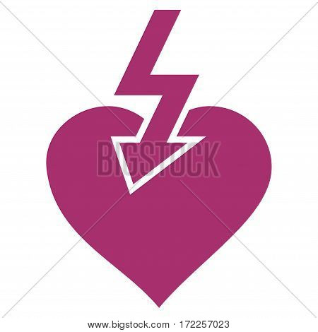 Heart Shock Strike flat icon. Vector purple symbol. Pictogram is isolated on a white background. Trendy flat style illustration for web site design logo ads apps user interface.