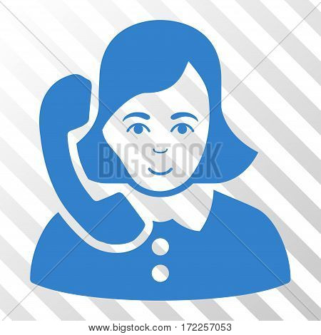 Cobalt Receptionist interface icon. Vector pictogram style is a flat symbol on diagonally hatched transparent background.