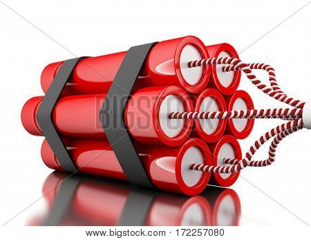 3D Dynamited Bomb On White Background