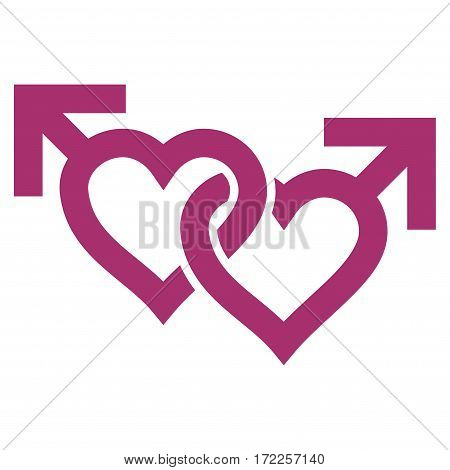 Linked Gay Hearts flat icon. Vector purple symbol. Pictograph is isolated on a white background. Trendy flat style illustration for web site design logo ads apps user interface.