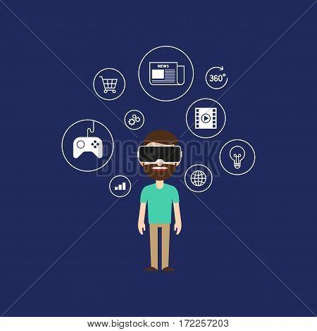 Virtual reality technology concept flat design vector illustration