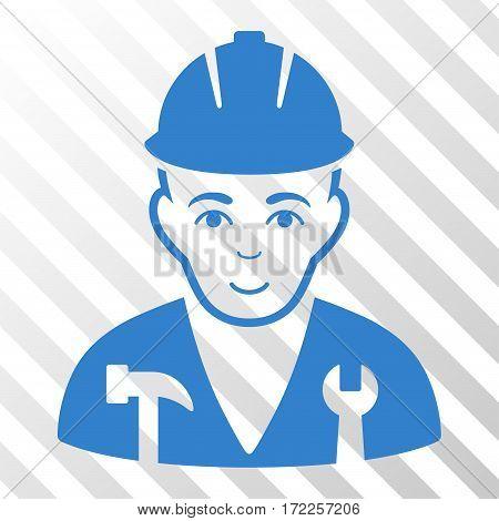 Cobalt Serviceman interface pictogram. Vector pictogram style is a flat symbol on diagonal hatch transparent background.