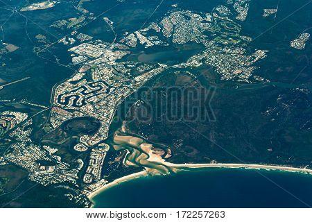 Aerial View Of Noosa Heads. Sunshine Coast, Australia