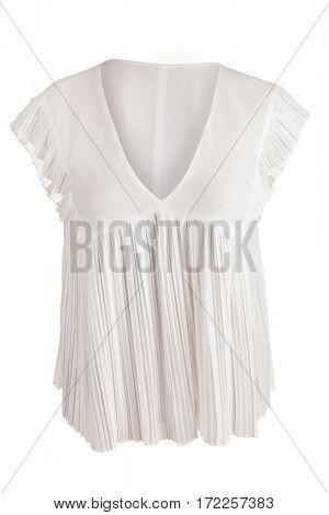 White pleated blouse, isolated on white background