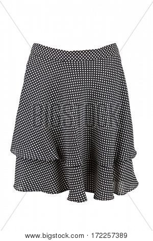 Black flared knee length skirt with polka dots, isolated over white