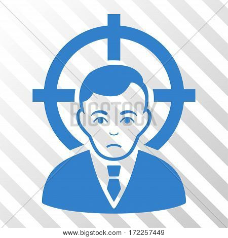 Cobalt Victim Businessman interface pictogram. Vector pictogram style is a flat symbol on diagonally hatched transparent background.